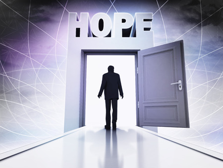 probability: walking person to get hope behind magic doorway background illustration Stock Photo
