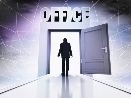 walking person to office in magic doorway background illustration Banco de Imagens