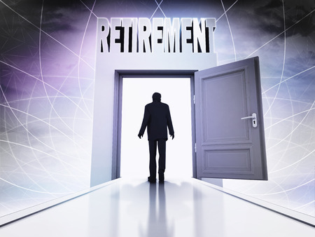 walking person to retirement through magic doorway background illustration illustration