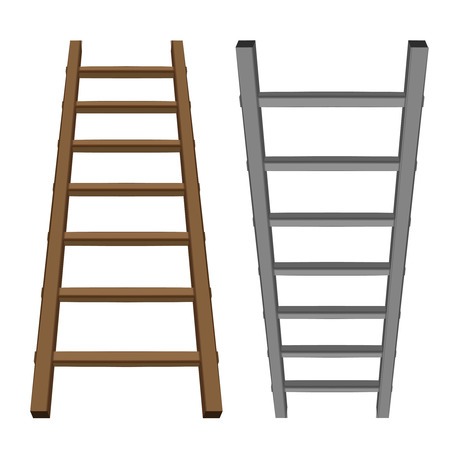 career ladder: isolated ladder object tool wooden and metallic one vector illustration