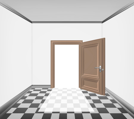 career entry: simply room open door and checked paved floor vector illustration