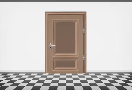 career entry: blank room wall with closed door and checked paved floor vector illustration