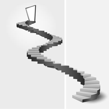 bended stairway leading to door top vector illustration Vector