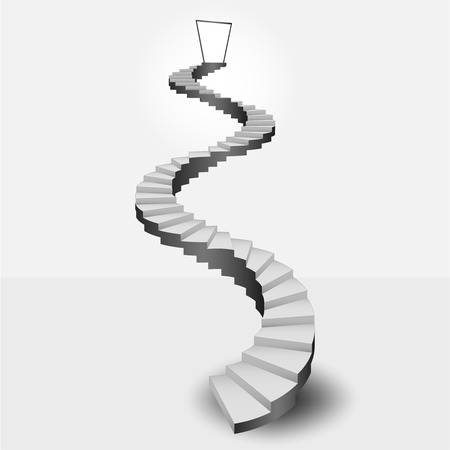 spiral stairs: circular stairway leading to heaven door vector illustration