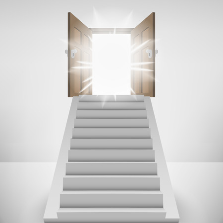 straight stairway leading to heaven door flare vector illustration