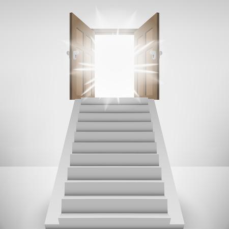 heaven: straight stairway leading to heaven door flare vector illustration