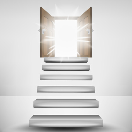 levitating: levitating stairway leading to heaven door flare vector illustration