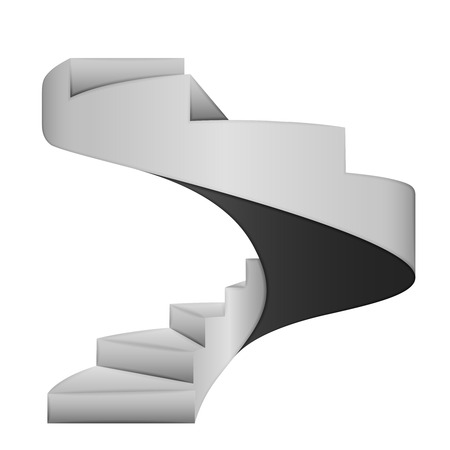upstairs: isolated black and white spiral stairway concept vector illustration