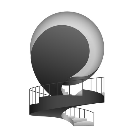 handrail: black and white circular stairway with handrail design vector illustration