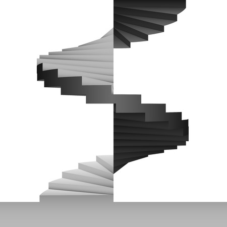 black and white circular stairway design background vector illustration