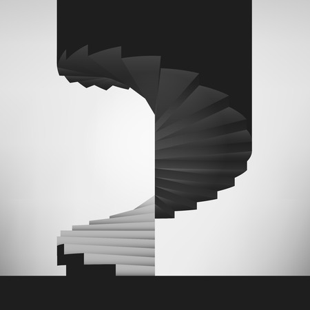 black and white circular staircase design background vector illustration Vector