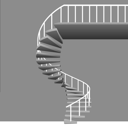 isolated circular staircase with white handrail on grey vector illustration Vector