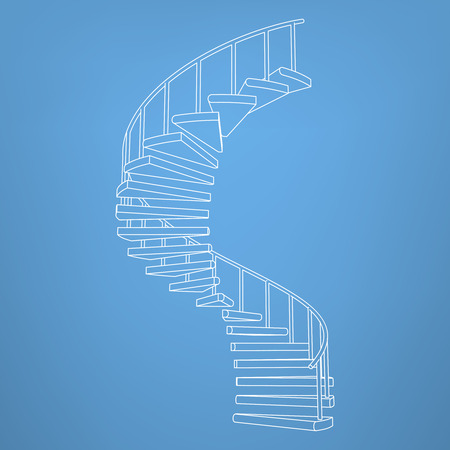 handrail: circular staircase blueprint development background vector illustration