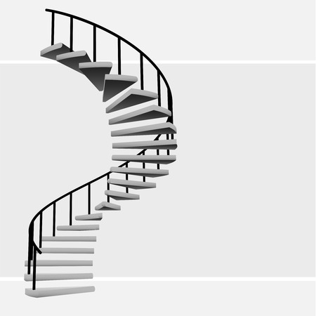 isolated circular staircase with black handrail vector illustration