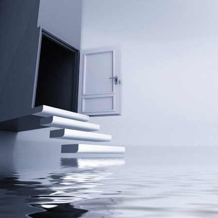 levitating: levitating stairs with open door escape from water concept illustration Stock Photo