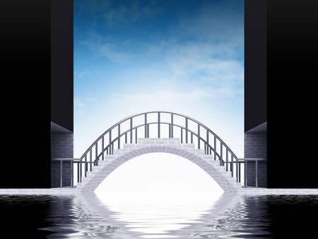 bridge arch scene over water with sky render illustration illustration