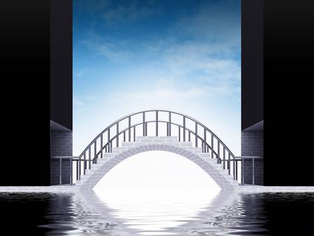 bridge over water: bridge arch scene over water with sky render illustration