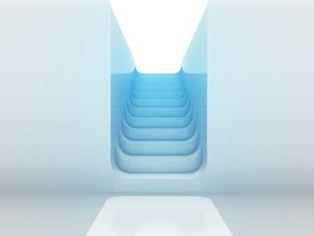 upstairs: staircase way upstairs in blue light design render illustration Stock Photo