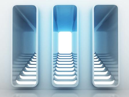 three staircase way choice in blue light design render illustration illustration
