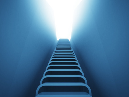 upstairs: staircase ladder up perspective in blue light  render illustration Stock Photo