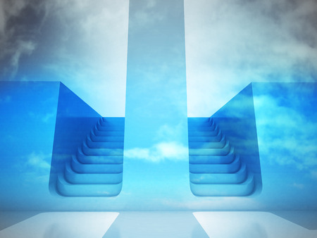 upstairs: two staircase ways decision concept in blue sky render illustration
