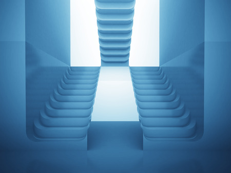 staircases: three staircases in blue light as maze consctruction render illustration