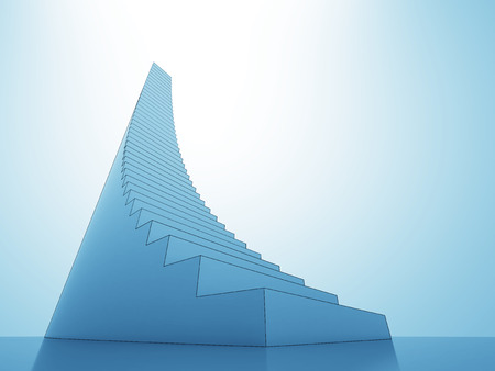 upstairs: stair steps to heaven sky blue light background render illustration