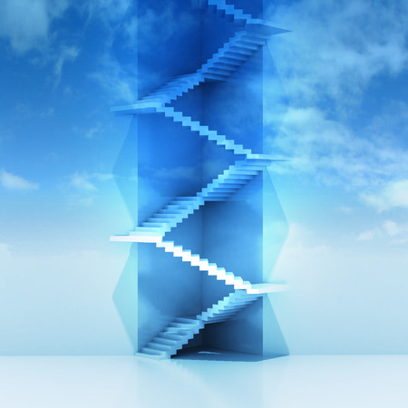 triangle staircase vertical construction in sky background render illustration illustration