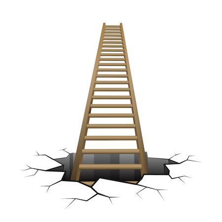 ladder: wooden ladder rising from cracked surface illustration Illustration