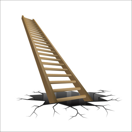 wooden stairs: wooden ladder rising from cracked ground illustration