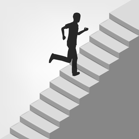 man running up on diagonal staircase illustration Vector