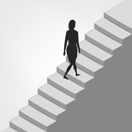 femme marchant sur la diagonale escalier illustration