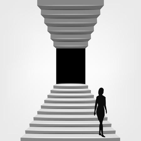 bajando escaleras: Mujer caminando por en la escalera de arriba a abajo la ilustración del concepto Vectores