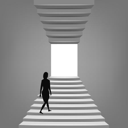 woman walking up on staircase up and down concept illustration Vector