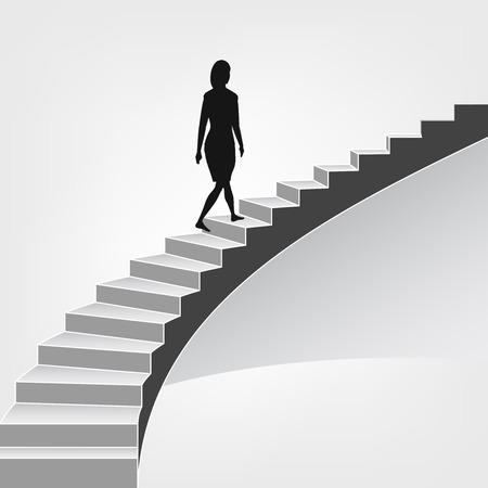 woman walking up on spiral staircase illustration Stock Illustratie