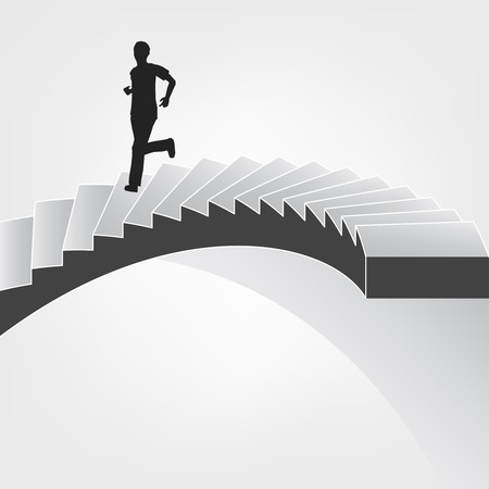 spiral staircase: man running down on spiral staircase illustration
