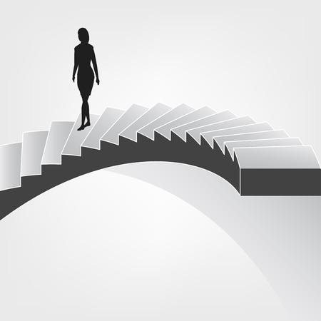 bajando escaleras: Mujer caminando por sobre ilustración escalera de caracol