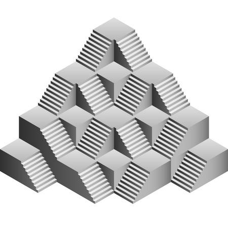 pyramid staircase construction symbolic building illustration