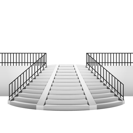 circular staircase with handrail on white background illustration Vector