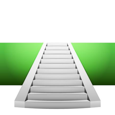 narrow staircase on green strip design element illustration
