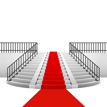 concrete stairs: red carpet on circular staircase on white background illustration