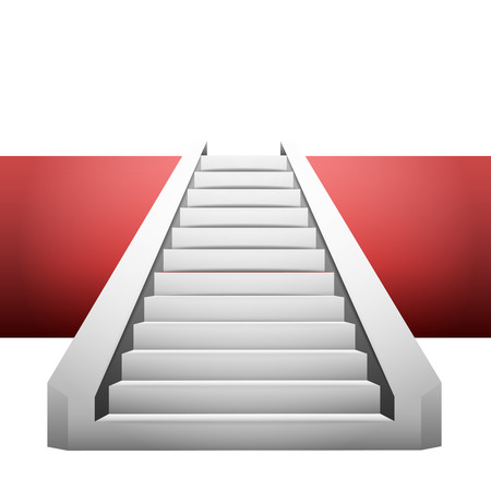 concrete stairs: straight staircase on red strip design element illustration