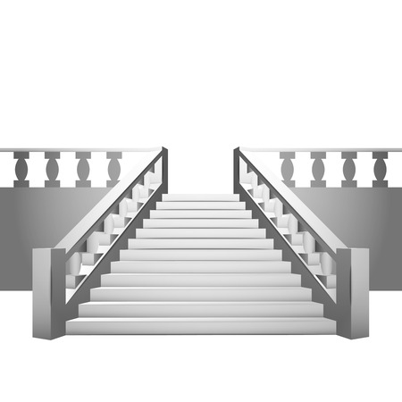 concrete stairs: baroque staircase with balustrade on white background illustration