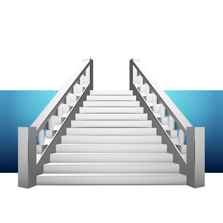 handrail: baroque staircase with balustrade on blue strip illustration Illustration