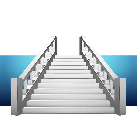 baroque staircase with balustrade on blue strip illustration Ilustração