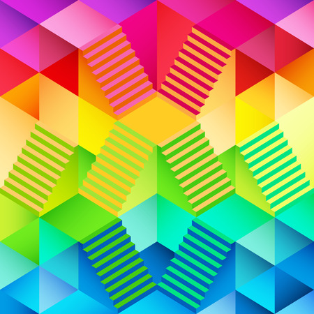 upstairs: colorful triangular wallpaper with staircase design in illustration Illustration