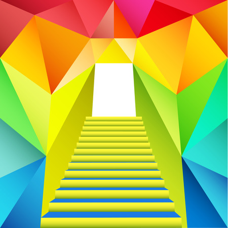 colorful triangular design with staircase gate illustration Vector