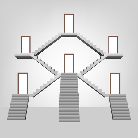staircase space construction with doors template concept illustration Vector