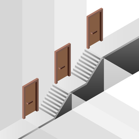 promotion way with floor levels behind door concept illustration Vector