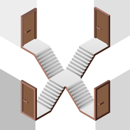 staircase way choice on crossroads with doors illustration Vector